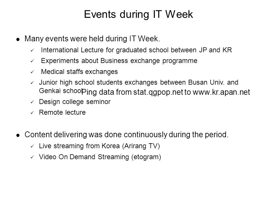 Many events were held during IT Week. International Lecture for graduated school between JP and KR Experiments about Business exchange programme Medic