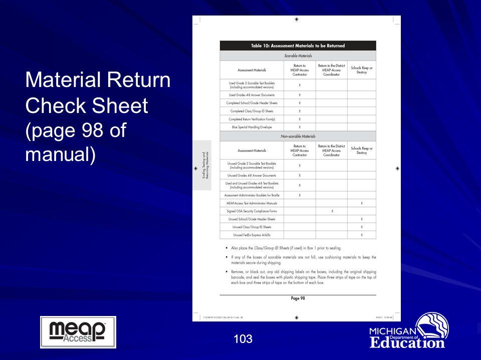 103 Material Return Check Sheet (page 98 of manual)