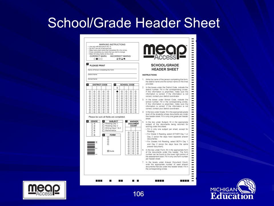 106 School/Grade Header Sheet