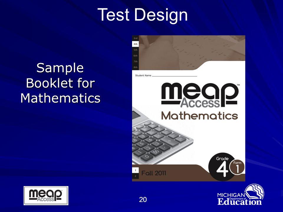 20 Sample Booklet for Mathematics Test Design