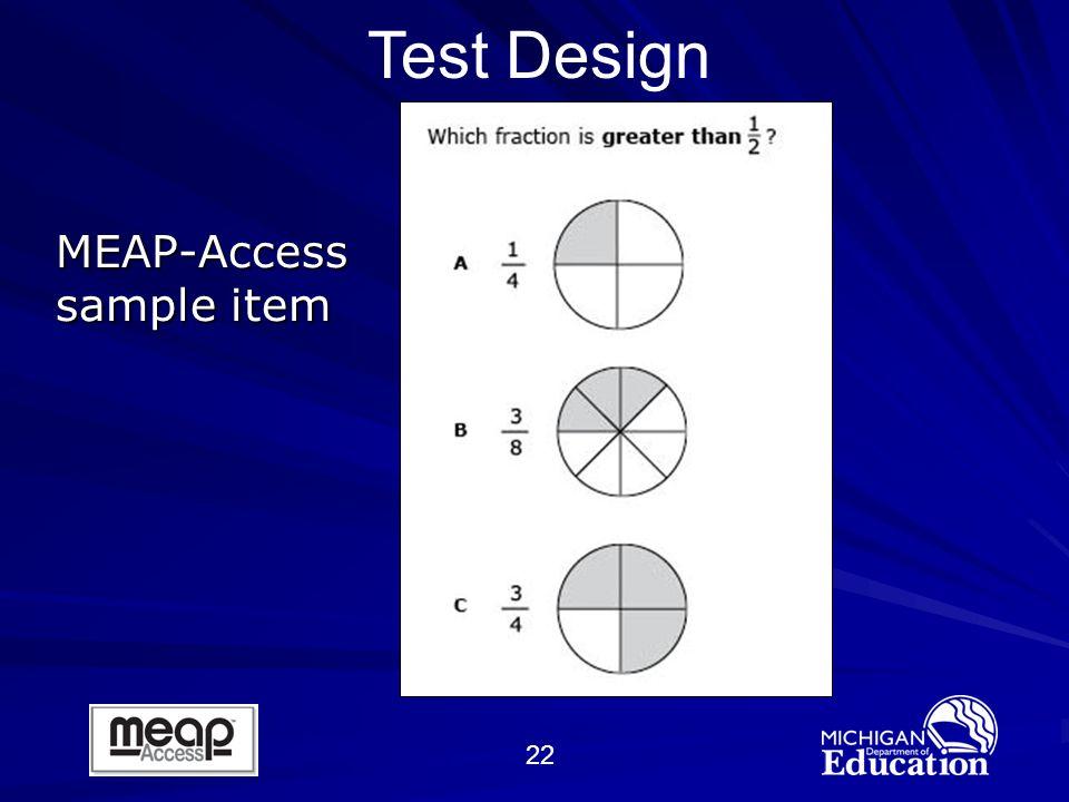 22 MEAP-Access sample item Test Design