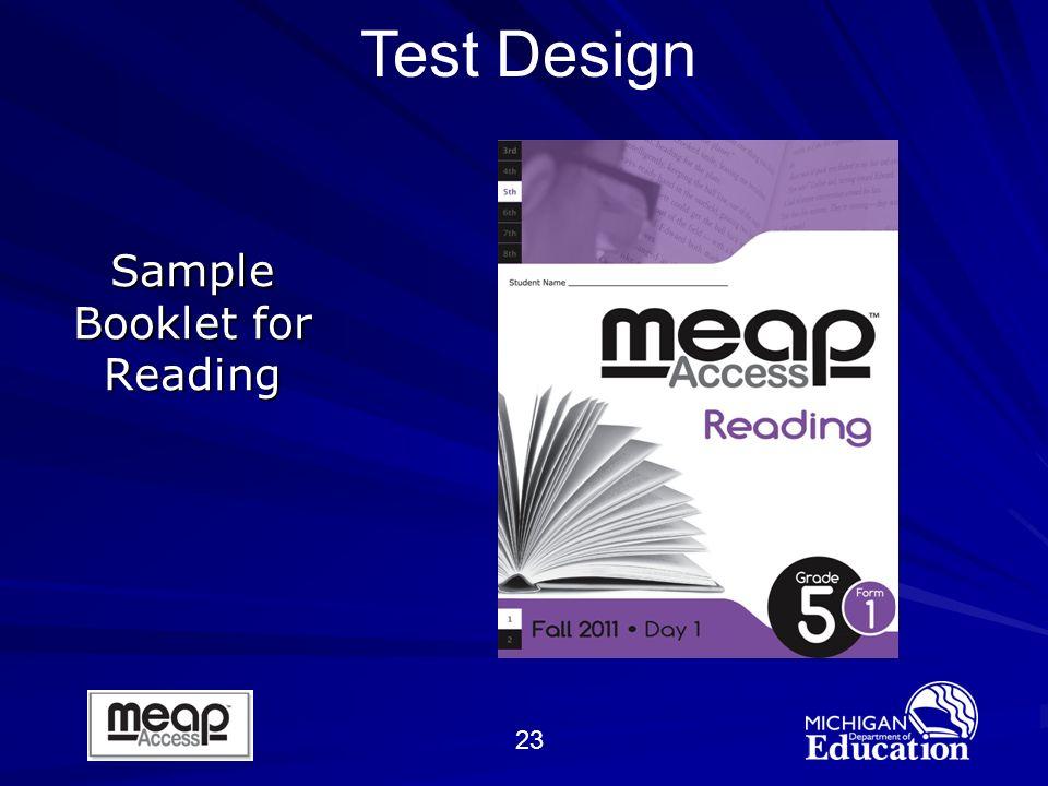 23 Sample Booklet for Reading Test Design