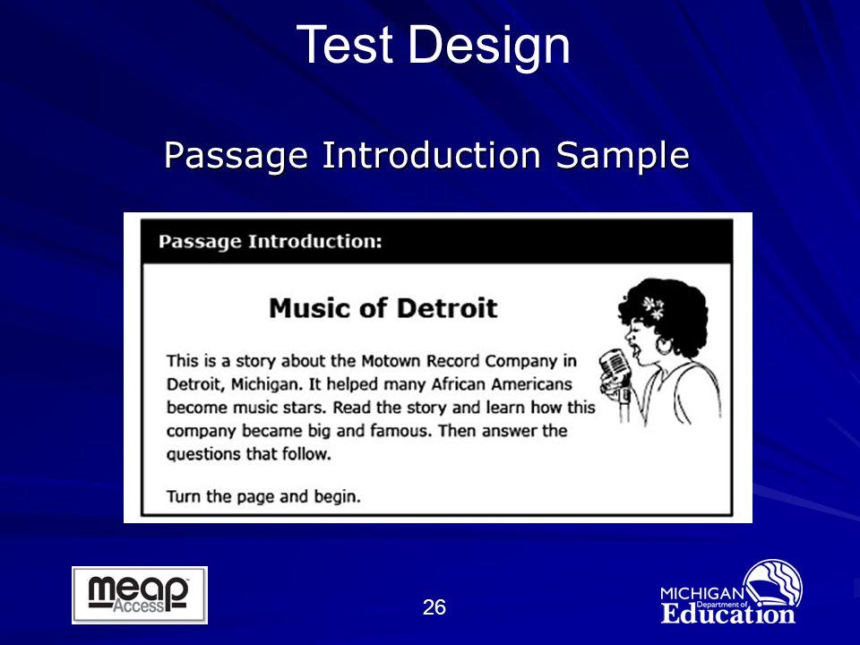 26 Passage Introduction Sample Test Design