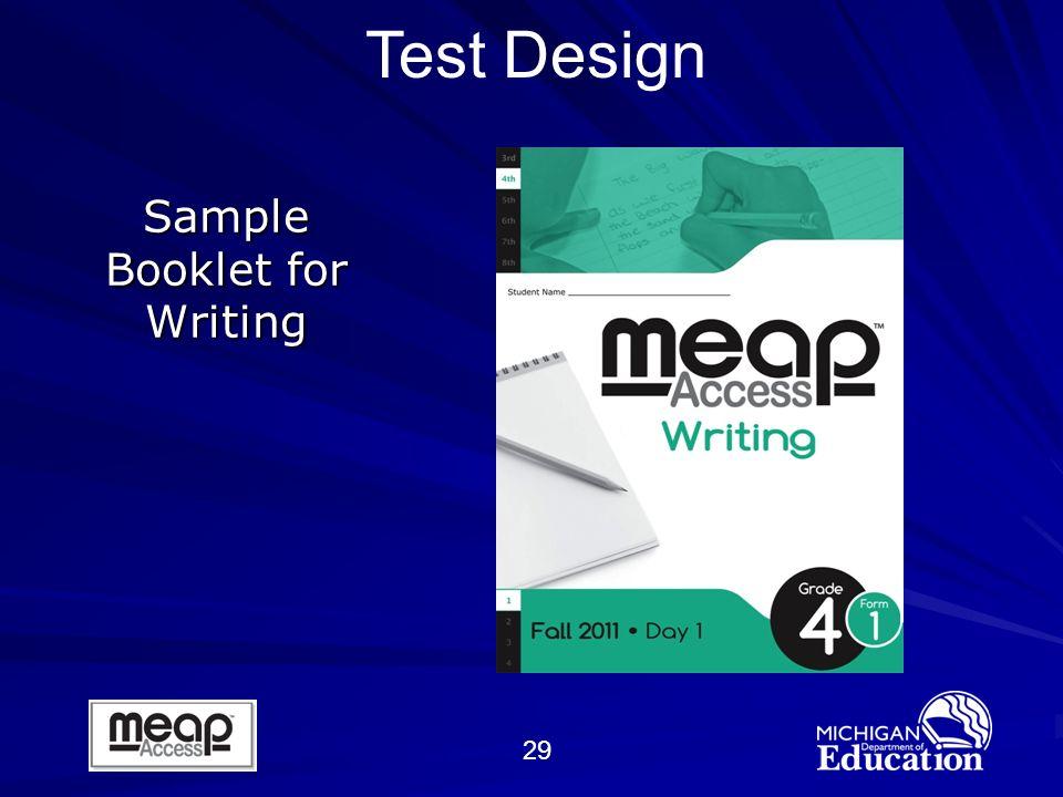 29 Sample Booklet for Writing Test Design