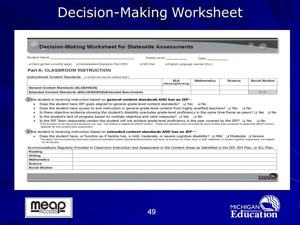 49 Decision-Making Worksheet