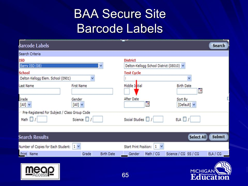 65 BAA Secure Site Barcode Labels