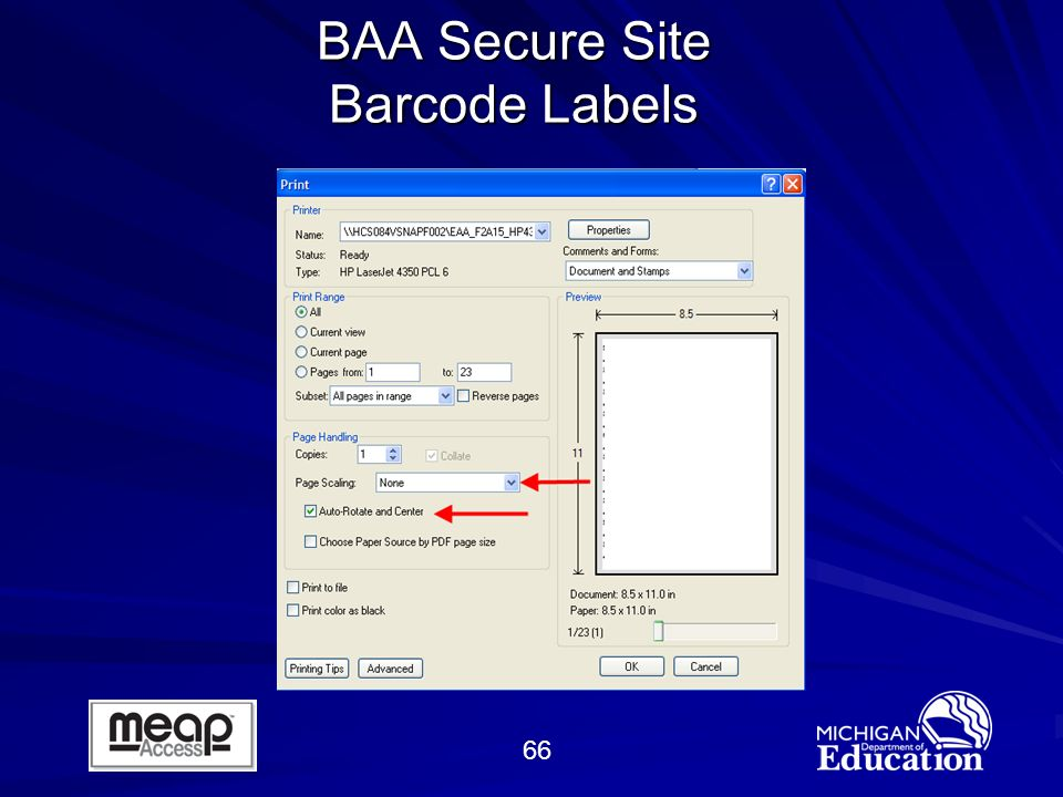 66 BAA Secure Site Barcode Labels