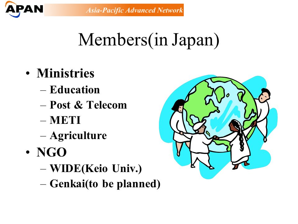 Members(in Japan) Ministries –Education –Post & Telecom –METI –Agriculture NGO –WIDE(Keio Univ.) –Genkai(to be planned)
