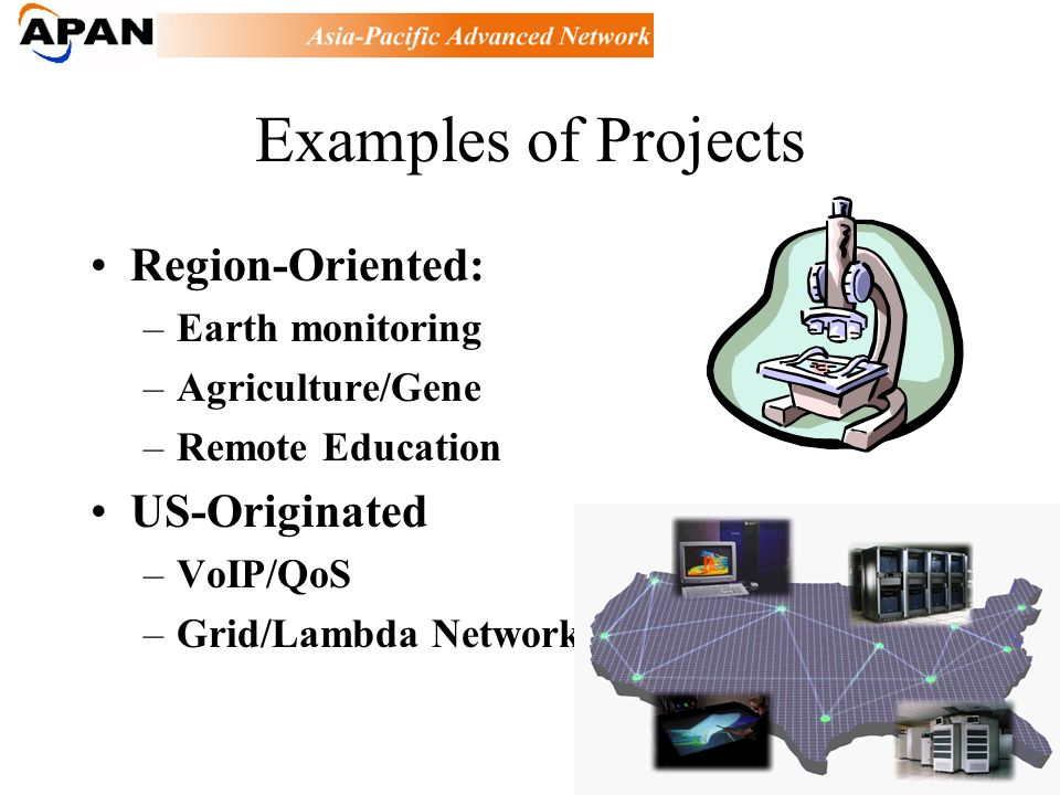 Examples of Projects Region-Oriented: –Earth monitoring –Agriculture/Gene –Remote Education US-Originated –VoIP/QoS –Grid/Lambda Network