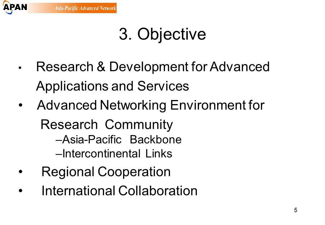5 3. Objective Research & Development for Advanced Applications and Services Advanced Networking Environment for Research Community –Asia-Pacific Back