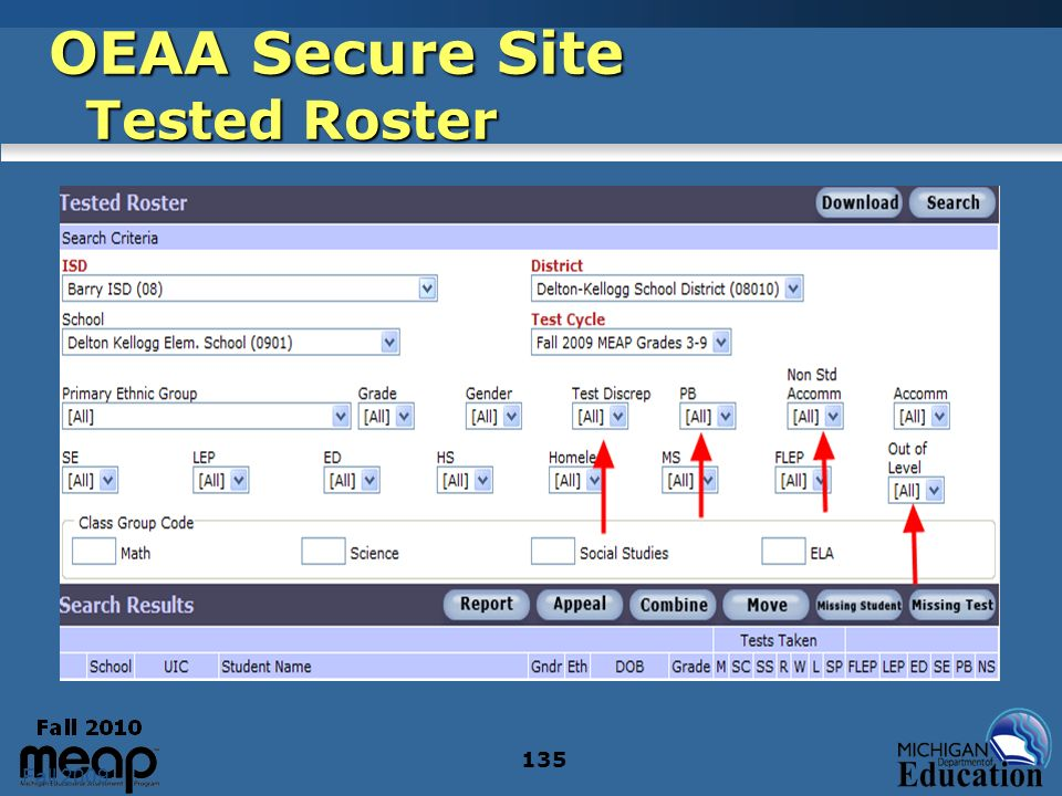 Fall 2009 135 OEAA Secure Site Tested Roster
