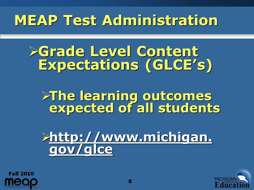 39 MEAP Test Administration Reading Test - Times Reading - Day 1 Reading - Day 1 October 12 October 12 Grades 3 - 8 Grades 3 - 8 Part 1: about 70 minutes Part 1: about 70 minutes Part 2: about 40 minutes Part 2: about 40 minutes
