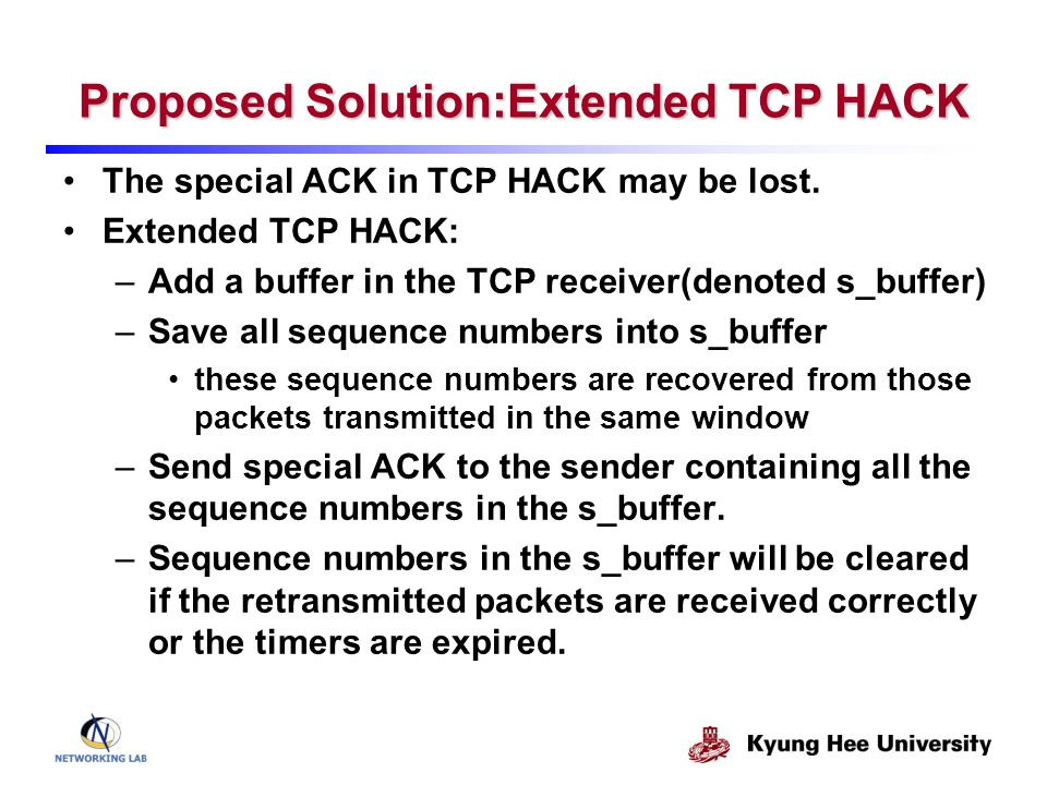 Proposed Solution:Extended TCP HACK The special ACK in TCP HACK may be lost. Extended TCP HACK: –Add a buffer in the TCP receiver(denoted s_buffer) –S