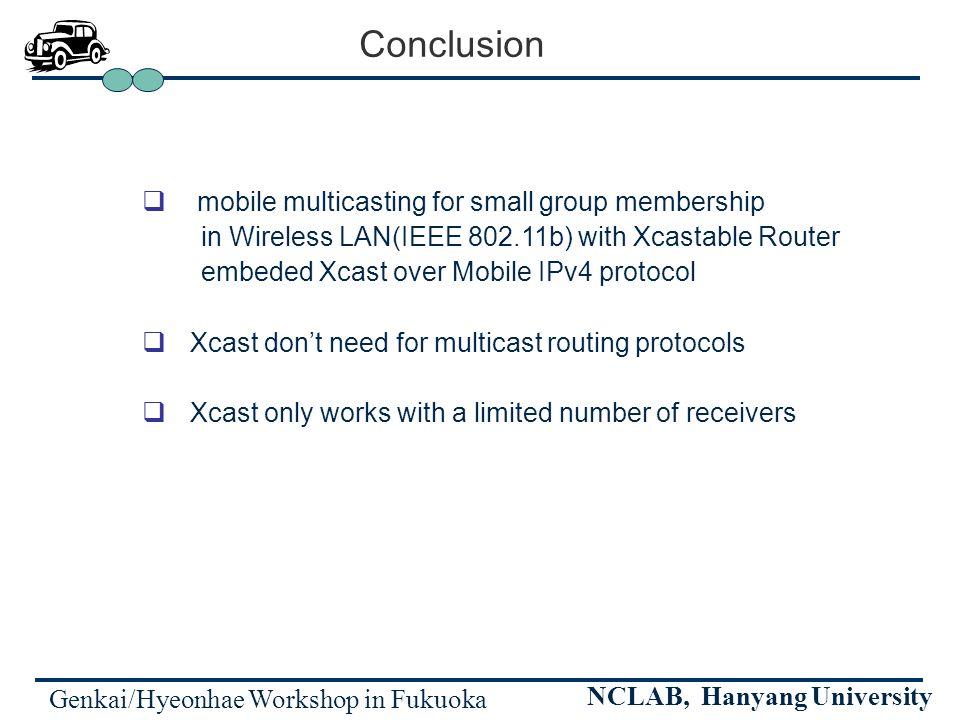 Genkai/Hyeonhae Workshop in Fukuoka NCLAB, Hanyang University Conclusion mobile multicasting for small group membership in Wireless LAN(IEEE 802.11b)