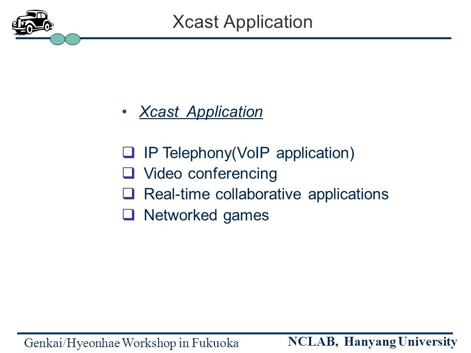 Genkai/Hyeonhae Workshop in Fukuoka NCLAB, Hanyang University Xcast Application Xcast Application IP Telephony(VoIP application) Video conferencing Re