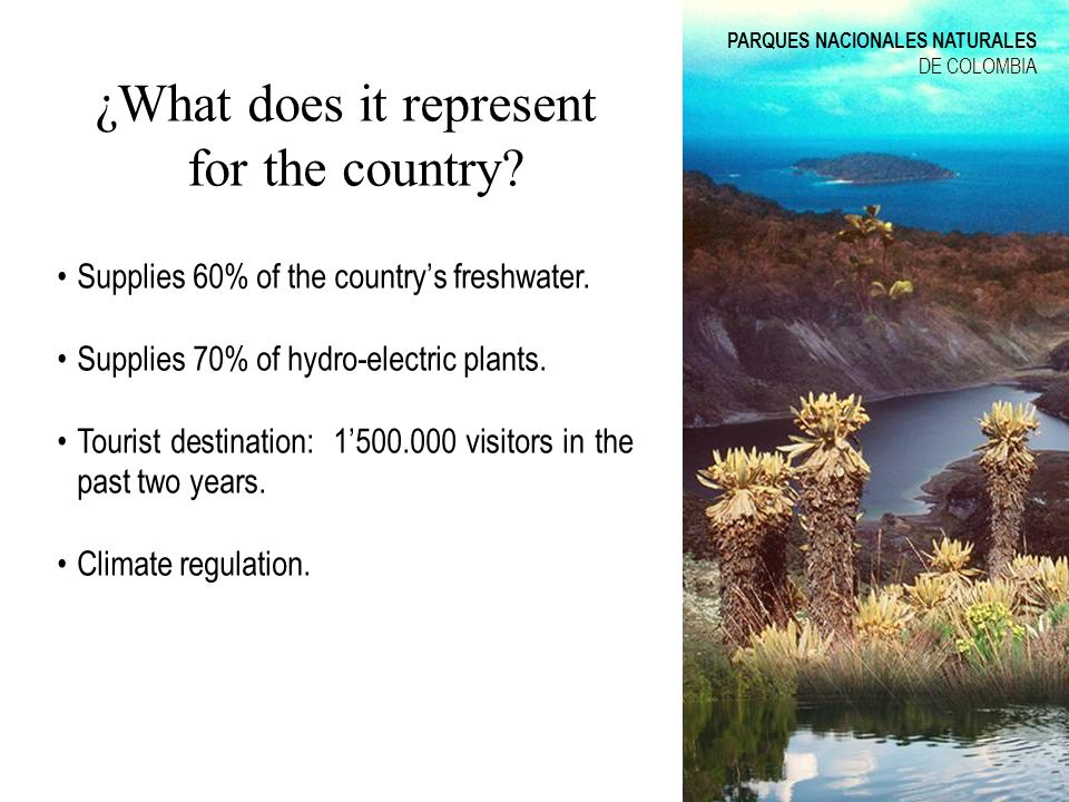 ¿What does it represent for the country? Supplies 60% of the countrys freshwater. Supplies 70% of hydro-electric plants. Tourist destination: 1500.000