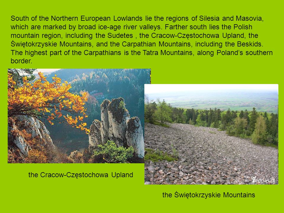 South of the Northern European Lowlands lie the regions of Silesia and Masovia, which are marked by broad ice-age river valleys. Farther south lies th