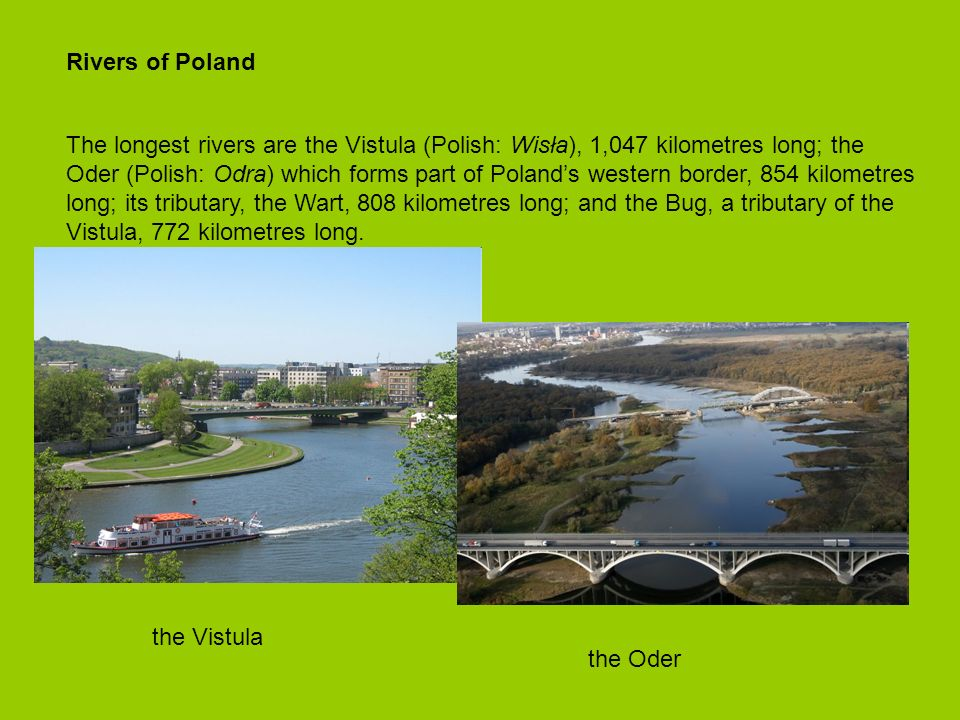 Rivers of Poland The longest rivers are the Vistula (Polish: Wisła), 1,047 kilometres long; the Oder (Polish: Odra) which forms part of Polands western border, 854 kilometres long; its tributary, the Wart, 808 kilometres long; and the Bug, a tributary of the Vistula, 772 kilometres long.