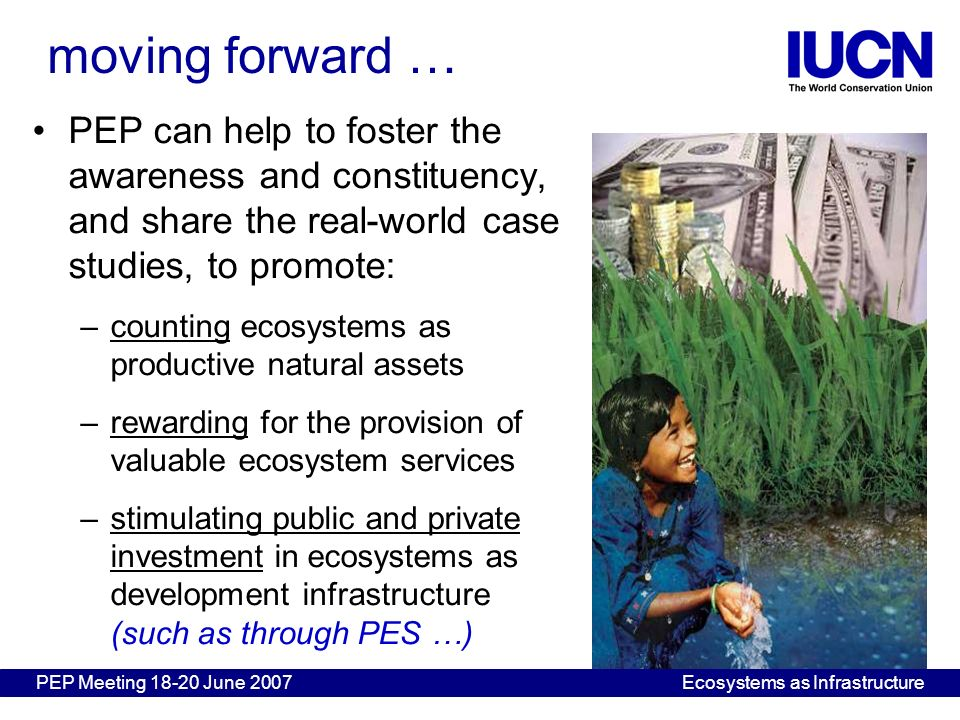 PEP can help to foster the awareness and constituency, and share the real-world case studies, to promote: –counting ecosystems as productive natural a