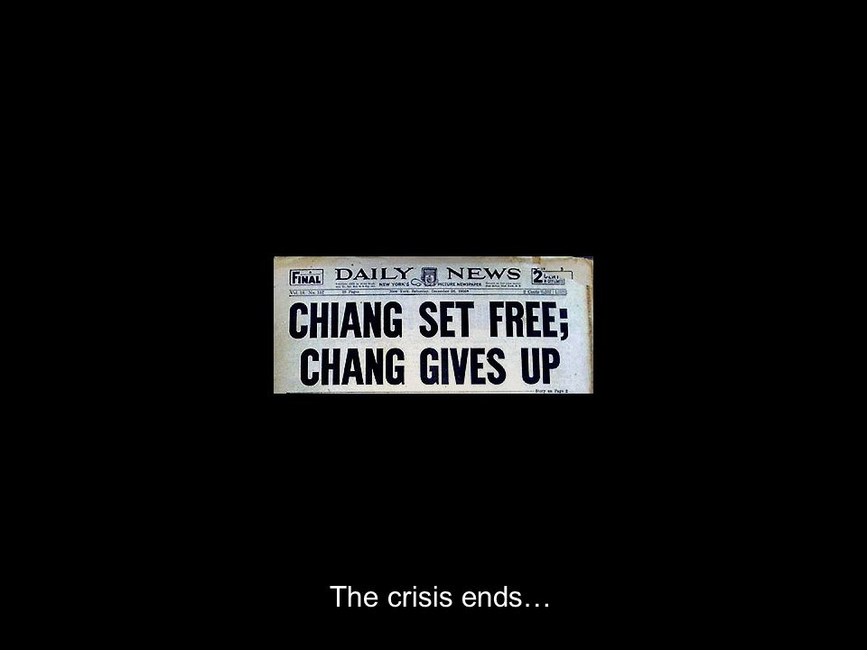 The crisis ends…