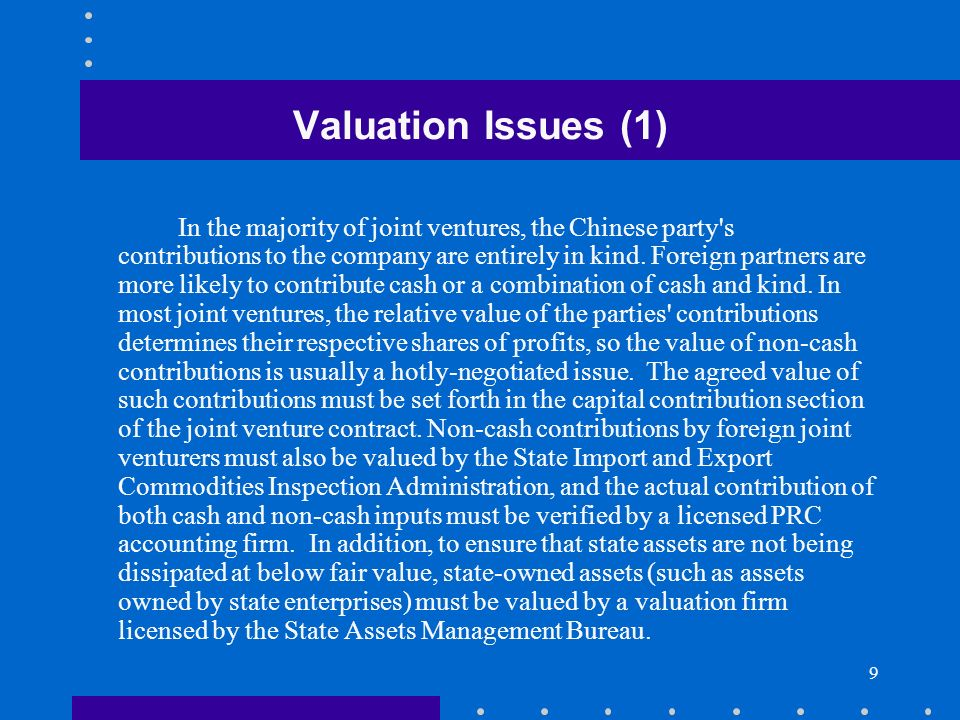 10 Valuation Issues (2) Most localities have standards for the value of land use rights.