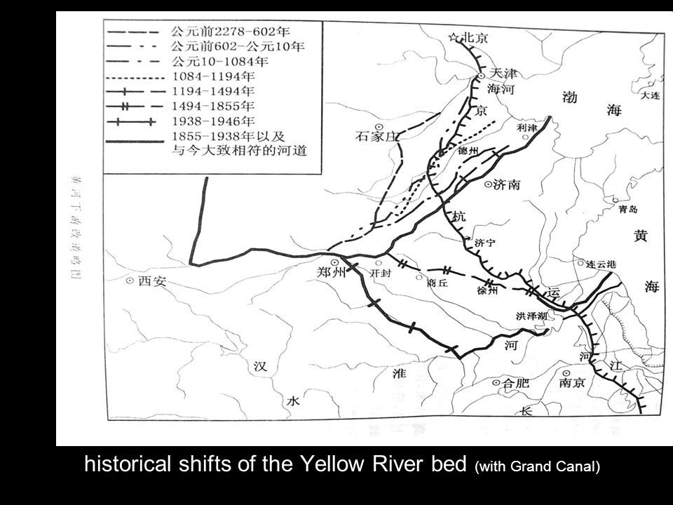 historical shifts of the Yellow River bed (with Grand Canal)
