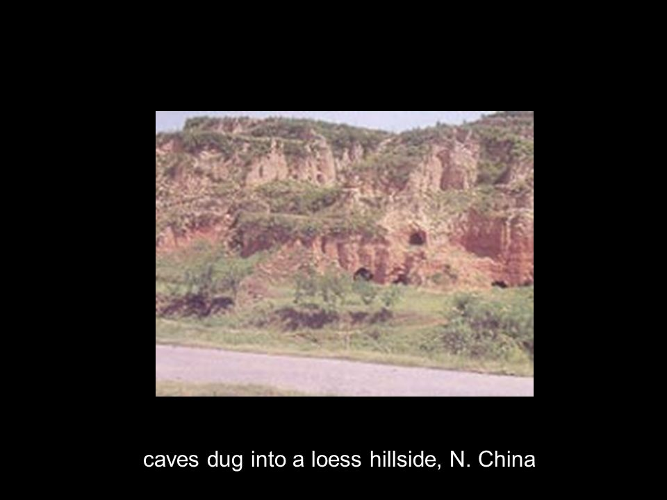 caves dug into a loess hillside, N. China