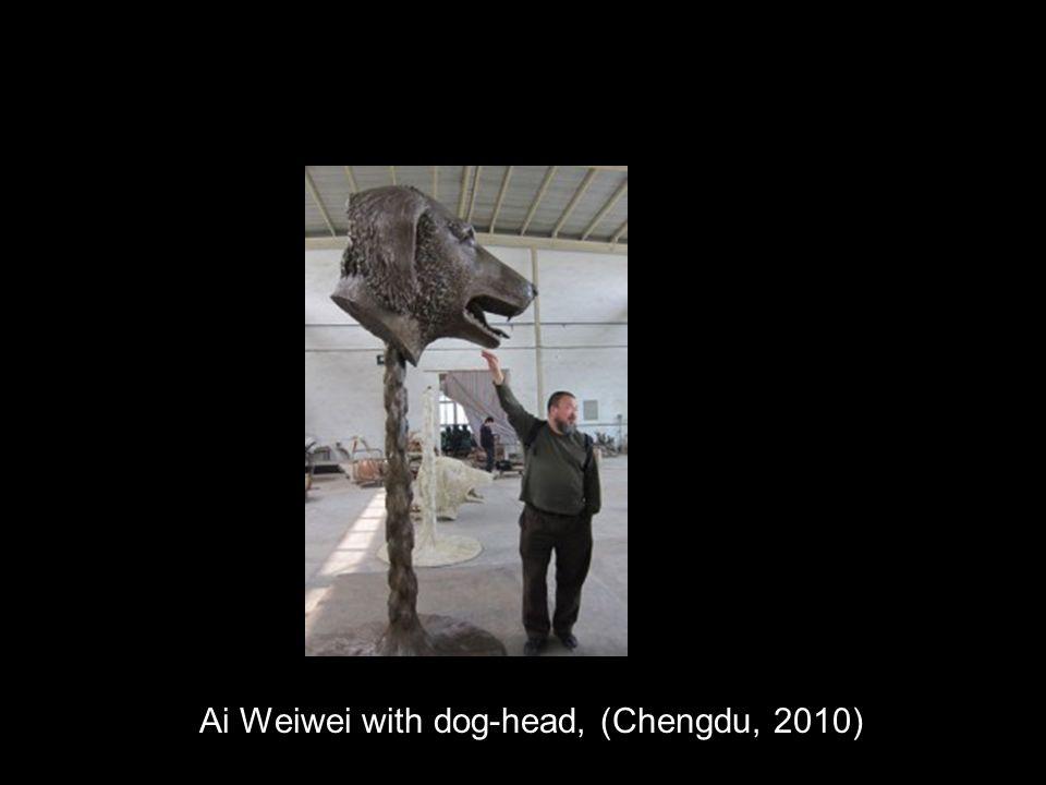 Ai Weiwei with dog-head, (Chengdu, 2010)