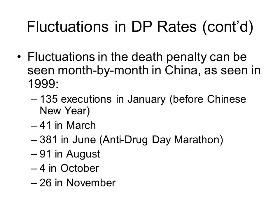 Fluctuations in DP Rates (contd) Fluctuations in the death penalty can be seen month-by-month in China, as seen in 1999: –135 executions in January (b