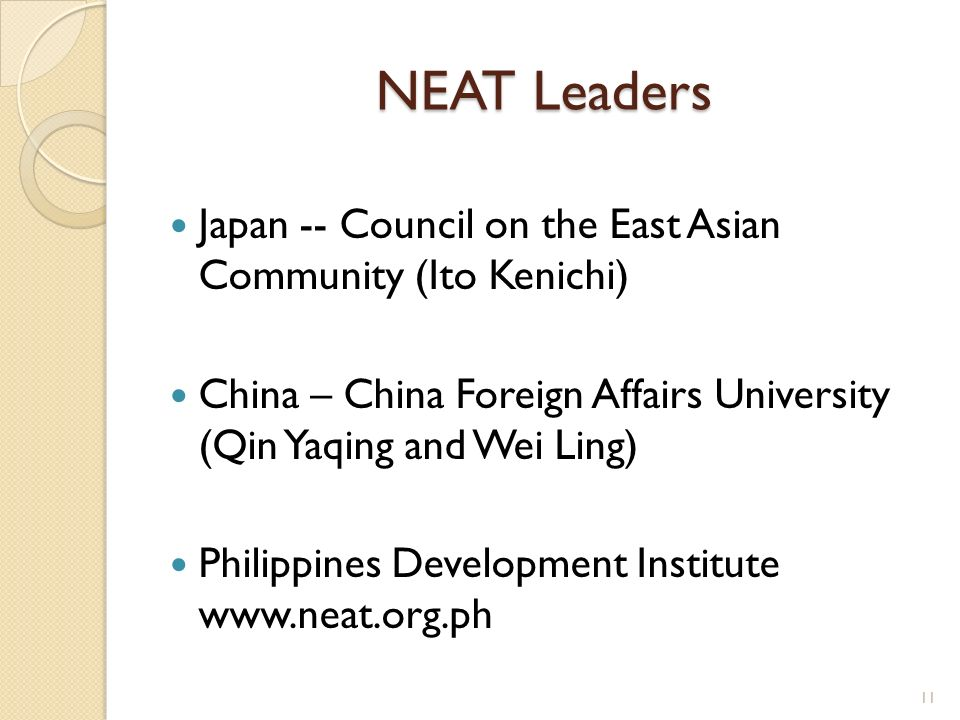 NEAT Leaders Japan -- Council on the East Asian Community (Ito Kenichi) China – China Foreign Affairs University (Qin Yaqing and Wei Ling) Philippines