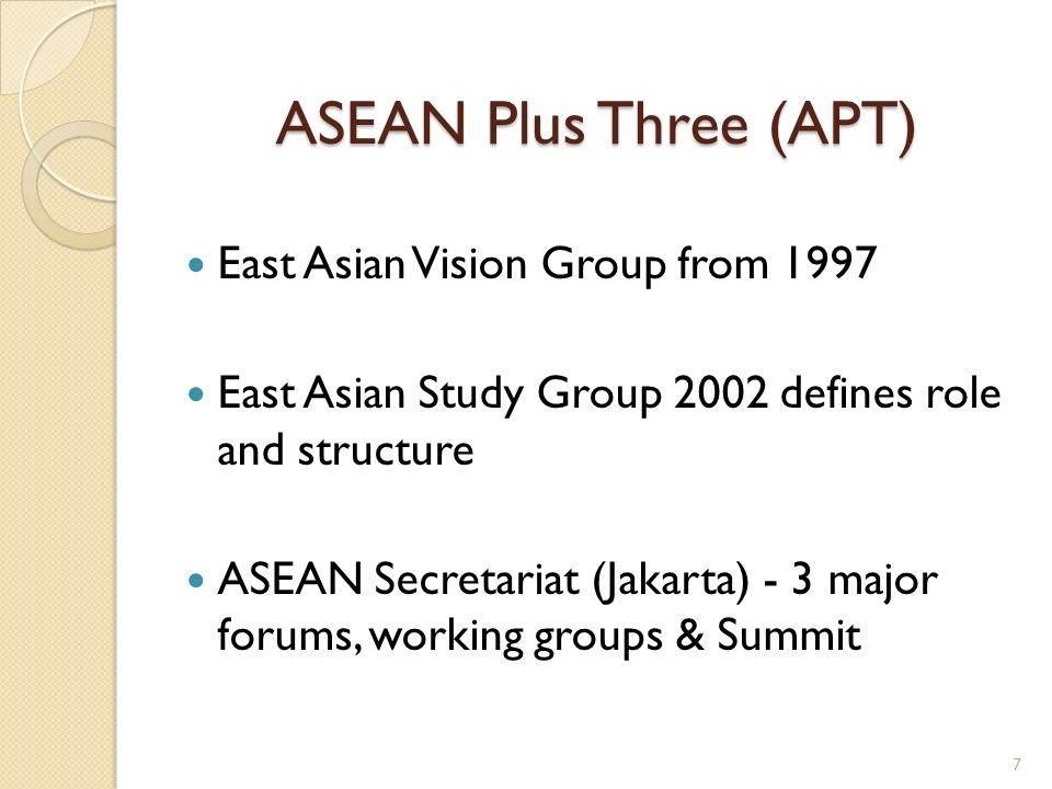 ASEAN Plus Three (APT) East Asian Vision Group from 1997 East Asian Study Group 2002 defines role and structure ASEAN Secretariat (Jakarta) - 3 major