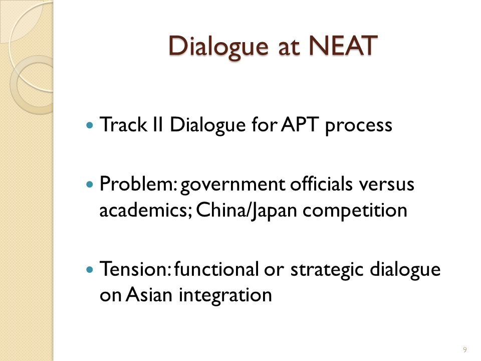 Dialogue at NEAT Track II Dialogue for APT process Problem: government officials versus academics; China/Japan competition Tension: functional or stra
