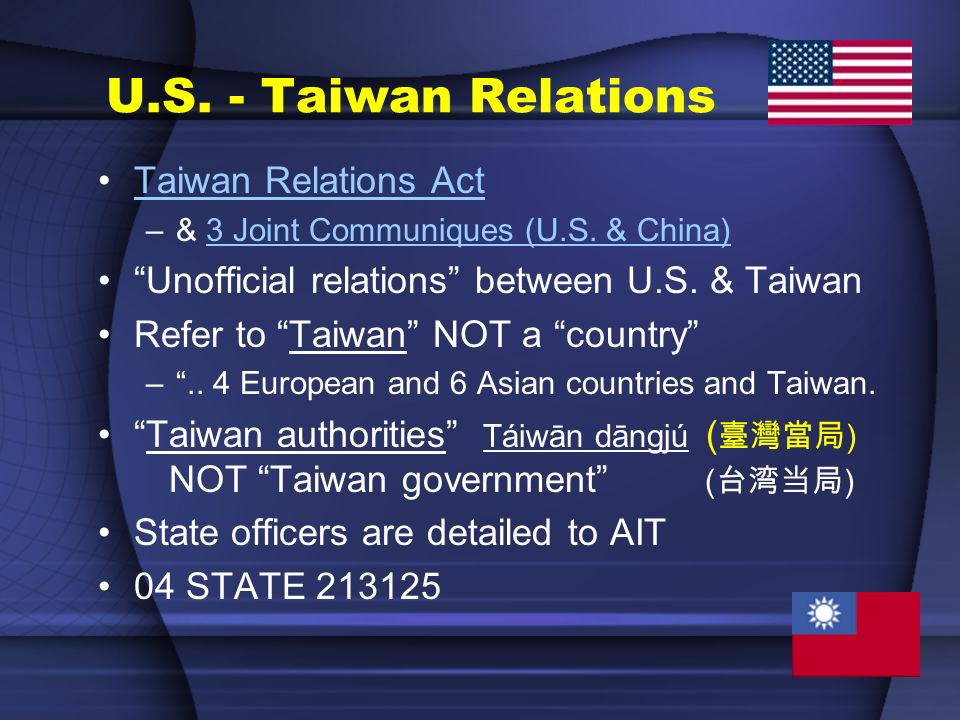 U.S. - Taiwan Relations Taiwan Relations Act –& 3 Joint Communiques (U.S. & China)3 Joint Communiques (U.S. & China) Unofficial relations between U.S.