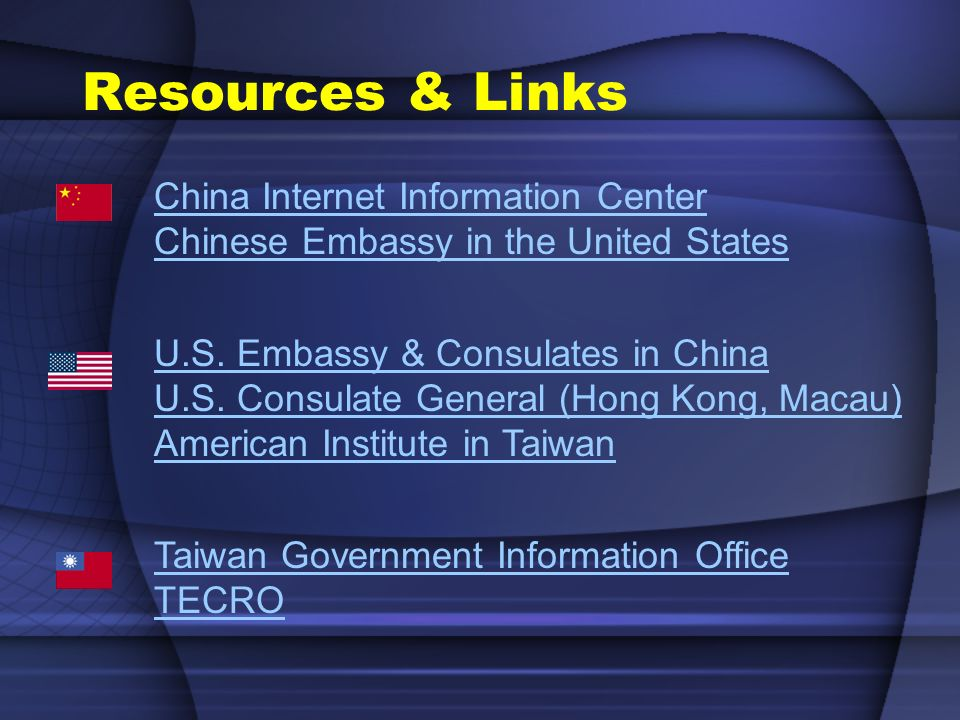 China Internet Information Center Chinese Embassy in the United States U.S. Embassy & Consulates in China U.S. Consulate General (Hong Kong, Macau) Am