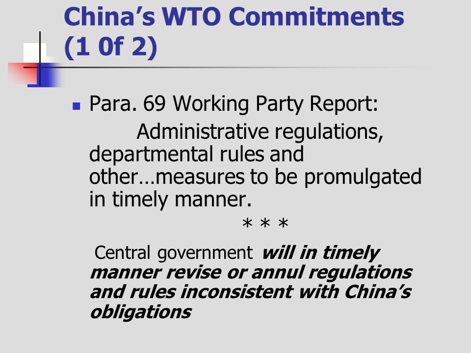 Chinas WTO Commitments (1 0f 2) Para.