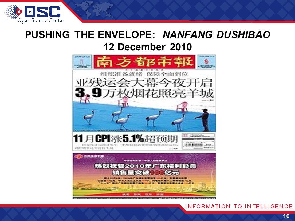 PUSHING THE ENVELOPE: NANFANG DUSHIBAO 12 December 2010 10