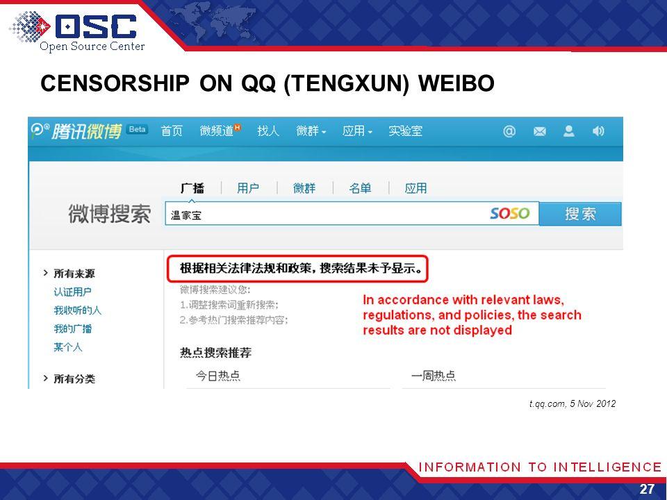 CENSORSHIP ON QQ (TENGXUN) WEIBO 27 t.qq.com, 5 Nov 2012