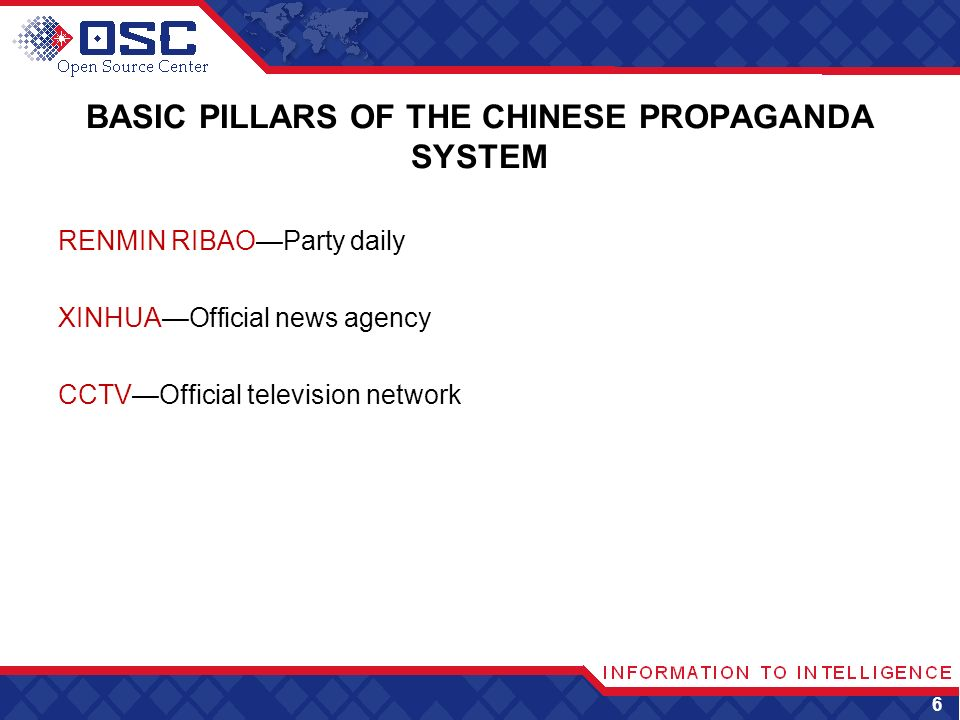 BASIC PILLARS OF THE CHINESE PROPAGANDA SYSTEM RENMIN RIBAOParty daily XINHUAOfficial news agency CCTVOfficial television network 6
