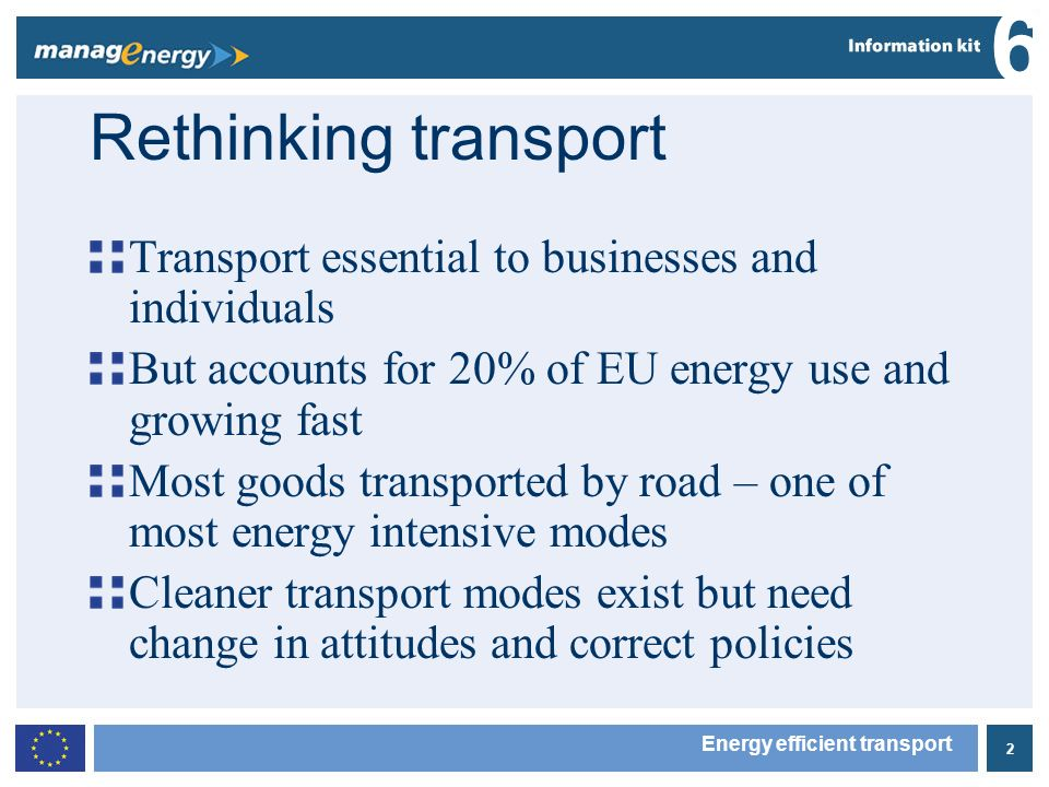 3 6 Energy efficient transport What is the EU doing.