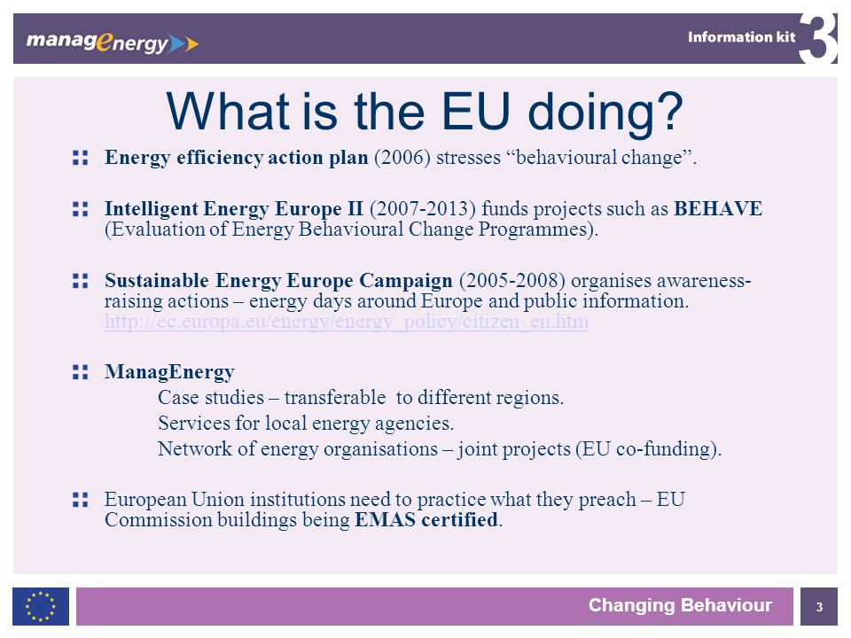 3 3 Changing Behaviour What is the EU doing.