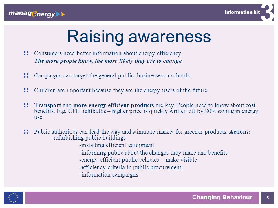 5 3 Changing Behaviour Raising awareness Consumers need better information about energy efficiency.