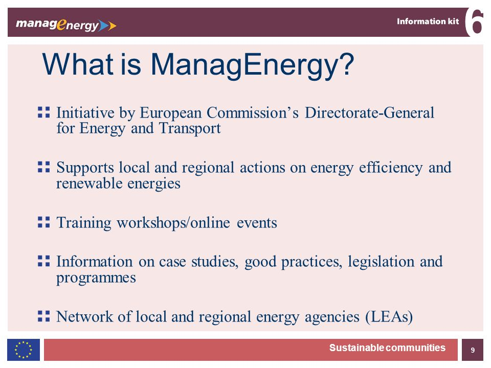 9 6 Sustainable communities What is ManagEnergy.