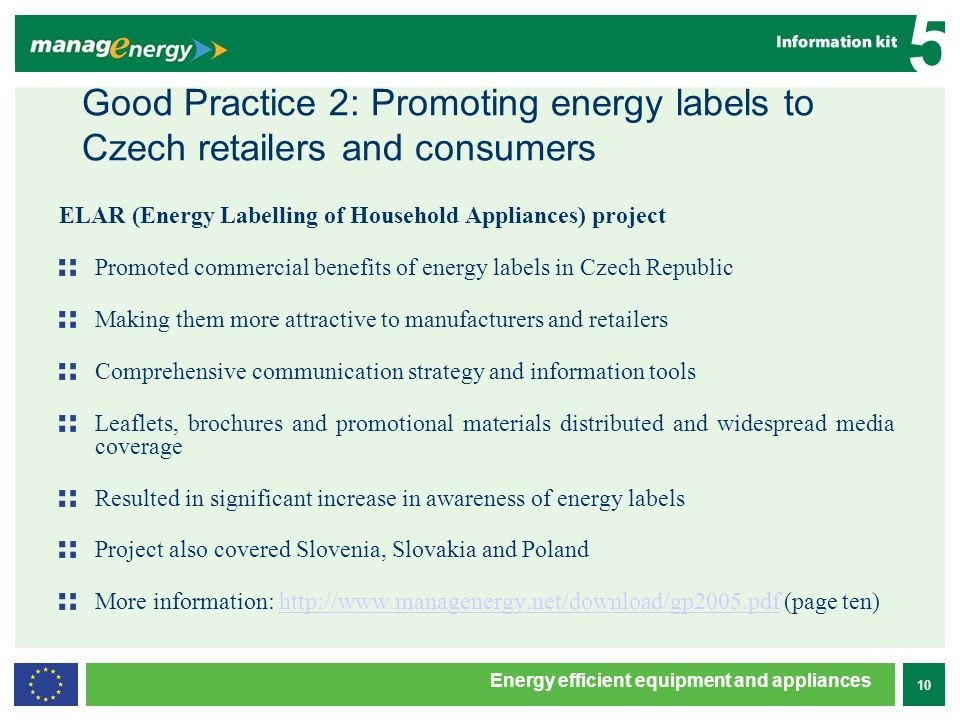 10 5 Energy efficient equipment and appliances Good Practice 2: Promoting energy labels to Czech retailers and consumers ELAR (Energy Labelling of Household Appliances) project Promoted commercial benefits of energy labels in Czech Republic Making them more attractive to manufacturers and retailers Comprehensive communication strategy and information tools Leaflets, brochures and promotional materials distributed and widespread media coverage Resulted in significant increase in awareness of energy labels Project also covered Slovenia, Slovakia and Poland More information: http://www.managenergy.net/download/gp2005.pdf (page ten)http://www.managenergy.net/download/gp2005.pdf