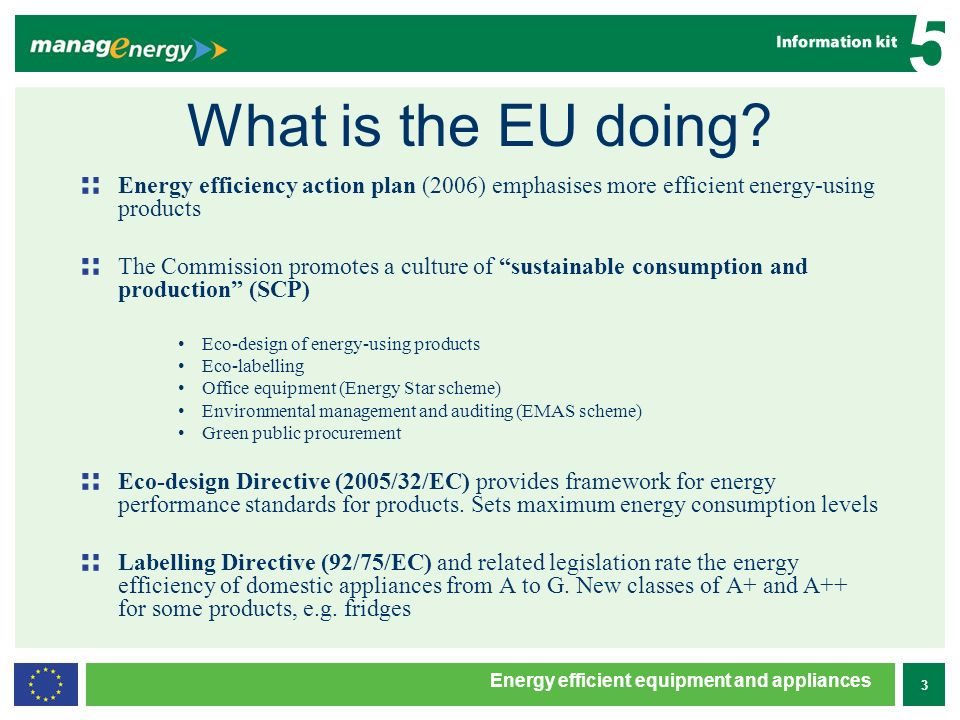 4 5 Energy efficient equipment and appliances What is the EU doing.