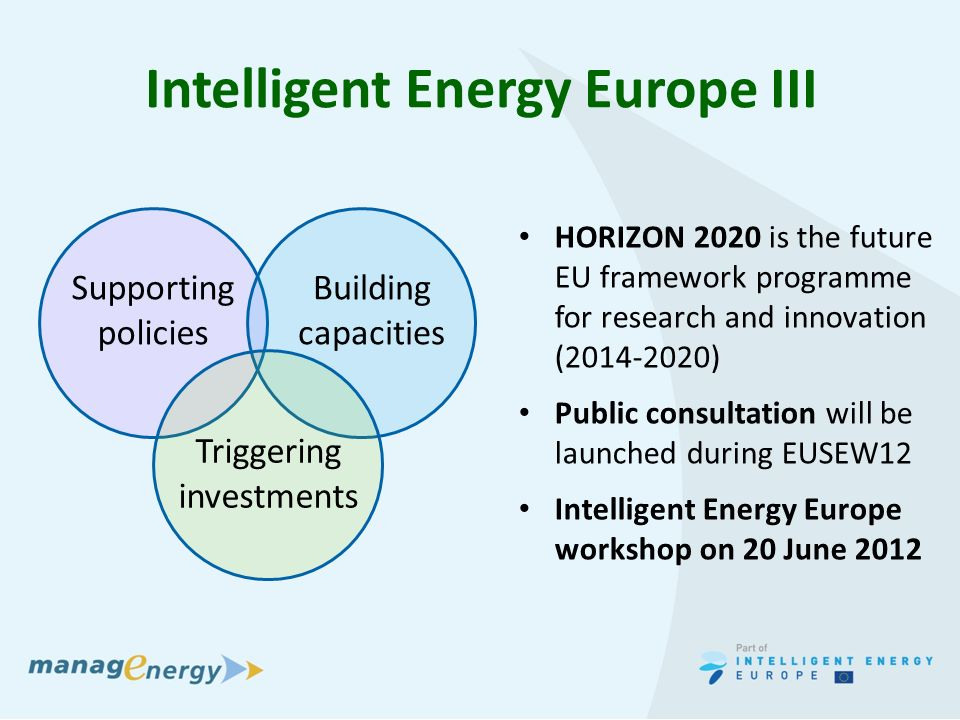 Intelligent Energy Europe III HORIZON 2020 is the future EU framework programme for research and innovation (2014-2020) Public consultation will be launched during EUSEW12 Intelligent Energy Europe workshop on 20 June 2012 Supporting policies Building capacities Triggering investments