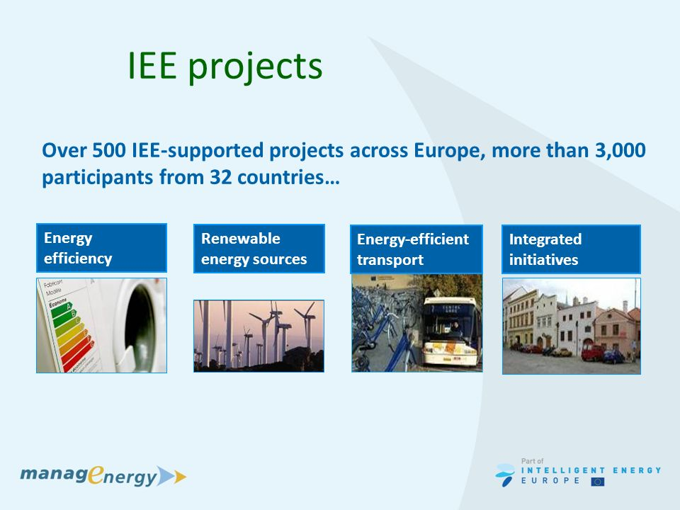 IEE projects Renewable energy sources Energy efficiency Over 500 IEE-supported projects across Europe, more than 3,000 participants from 32 countries… Integrated initiatives Energy-efficient transport