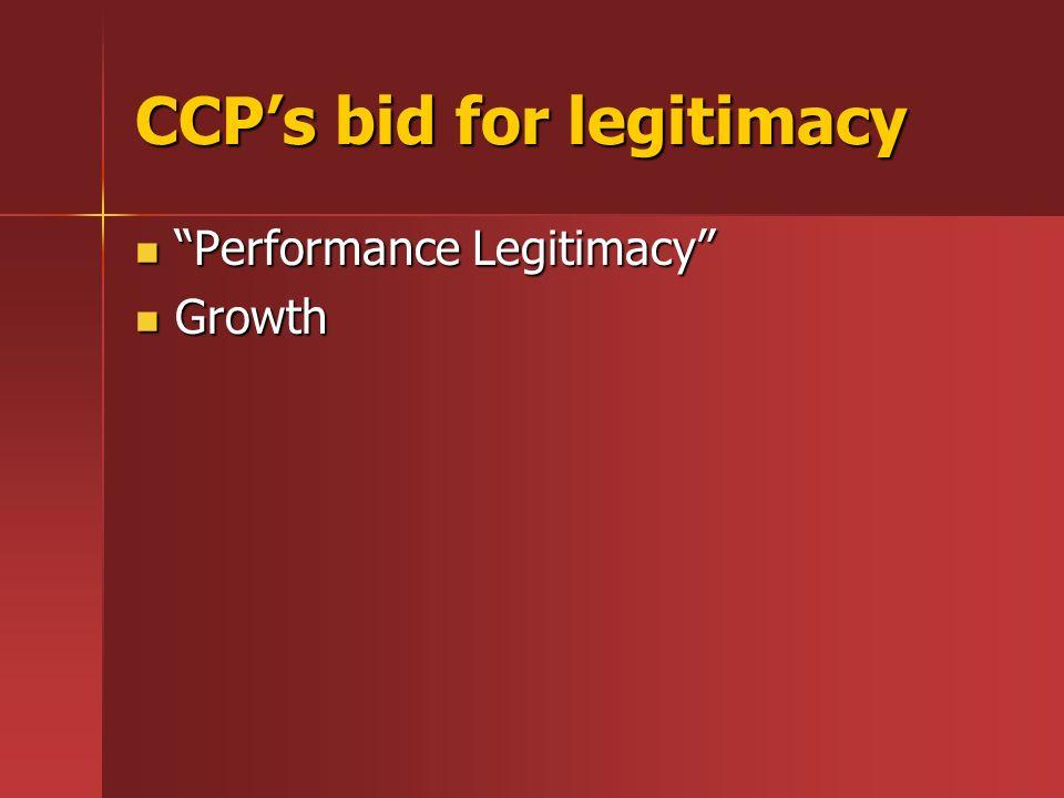 CCPs bid for legitimacy Performance Legitimacy Performance Legitimacy Growth Growth