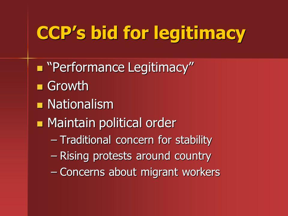 CCPs bid for legitimacy Performance Legitimacy Performance Legitimacy Growth Growth Nationalism Nationalism Maintain political order Maintain politica