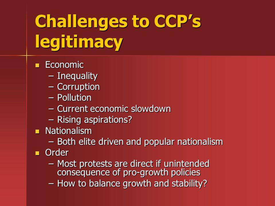 Challenges to CCPs legitimacy Economic Economic –Inequality –Corruption –Pollution –Current economic slowdown –Rising aspirations? Nationalism Nationa