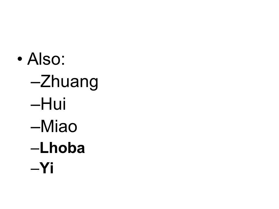 Also: –Zhuang –Hui –Miao –Lhoba –Yi